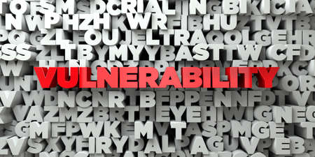 VULNERABILITY -  Red text on typography background - 3D rendered 版權商用圖片