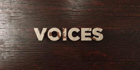 headline: Voices - grungy wooden headline on Maple  - 3D rendered Stock Photo