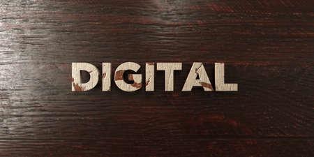 headline: Digital - grungy wooden headline on Maple  - 3D rendered
