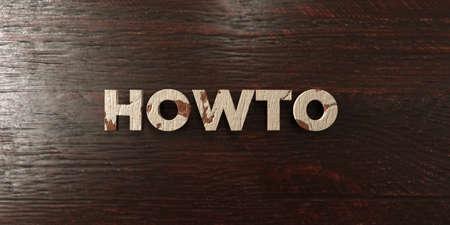 headline: Howto - grungy wooden headline on Maple  - 3D rendered Stock Photo