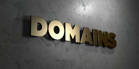 domains: Domains - Gold sign mounted on glossy marble wall  - 3D rendered Stock Photo