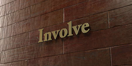Involve - Bronze plaque mounted on maple wood wall  - 3D rendered