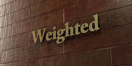weighted: Weighted - Bronze plaque mounted on maple wood wall  - 3D rendered