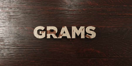 Grams - grungy wooden headline on Maple  - 3D rendered