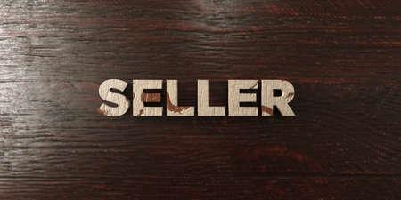headline: Seller - grungy wooden headline on Maple  - 3D rendered Stock Photo