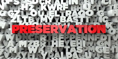PRESERVATION -  Red text on typography background - 3D rendered