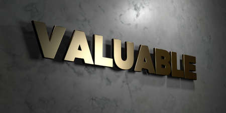 valuable: Valuable - Gold sign mounted on glossy marble wall  - 3D rendered