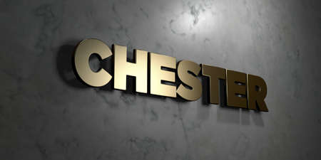 chester: Chester - Gold sign mounted on glossy marble wall  - 3D rendered