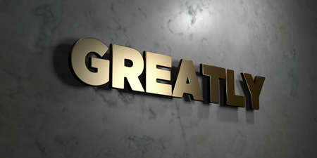 greatly: Greatly - Gold sign mounted on glossy marble wall  - 3D rendered