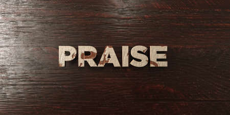 headline: Praise - grungy wooden headline on Maple  - 3D rendered