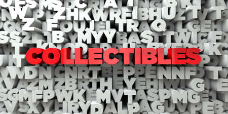 collectibles: COLLECTIBLES -  Red text on typography background - 3D rendered