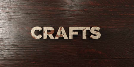 headline: Crafts - grungy wooden headline on Maple  - 3D rendered