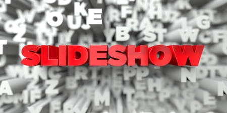 SLIDESHOW -  Red text on typography background - 3D rendered Stock Photo