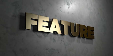 feature: Feature - Gold sign mounted on glossy marble wall  - 3D rendered