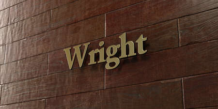 wright: Wright - Bronze plaque mounted on maple wood wall  - 3D rendered