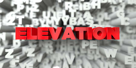 elevation: ELEVATION -  Red text on typography background - 3D rendered