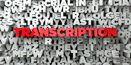 transcription: TRANSCRIPTION -  Red text on typography background - 3D rendered Stock Photo
