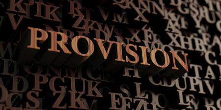provision: Provision - Wooden 3D rendered lettersmessage.