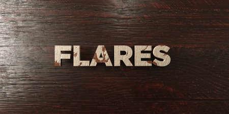 headline: Flares - grungy wooden headline on Maple  - 3D rendered