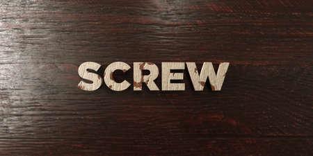 headline: Screw - grungy wooden headline on Maple  - 3D rendered