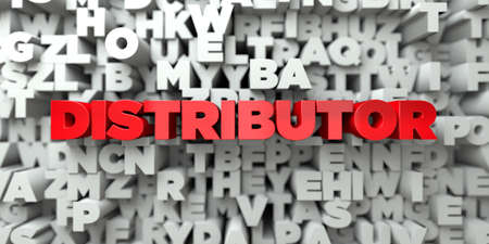 DISTRIBUTOR -  Red text on typography background - 3D rendered Stock Photo