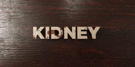 headline: Kidney - grungy wooden headline on Maple  - 3D rendered Stock Photo
