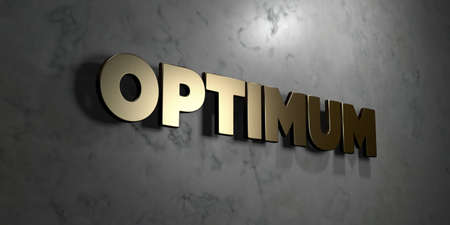 optimum: Optimum - Gold sign mounted on glossy marble wall  - 3D rendered Stock Photo
