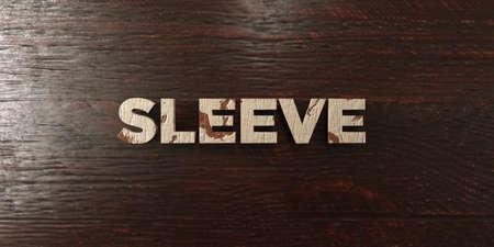 headline: Sleeve - grungy wooden headline on Maple  - 3D rendered