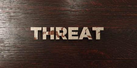 headline: Threat - grungy wooden headline on Maple  - 3D rendered Stock Photo