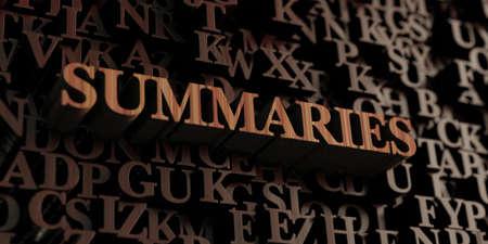 summaries: Summaries - Wooden 3D rendered lettersmessage. Stock Photo