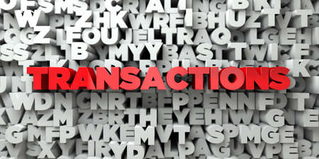 sentence typescript: TRANSACTIONS -  Red text on typography background - 3D rendered royalty free stock image. This image can be used for an online website banner ad or a print postcard.