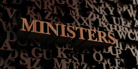 ministers: Ministers - Wooden 3D rendered lettersmessage.  Can be used for an online banner ad or a print postcard.