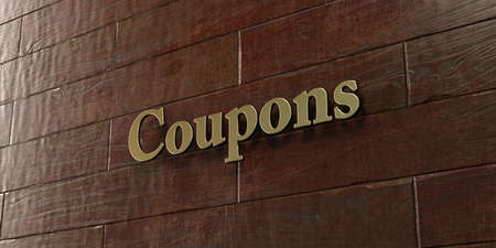 plaque: Coupons - Bronze plaque mounted on maple wood wall  - 3D rendered Stock Photo