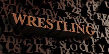 letterpress words: Wrestling - Wooden 3D rendered lettersmessage.  Can be used for an online banner ad or a print postcard.