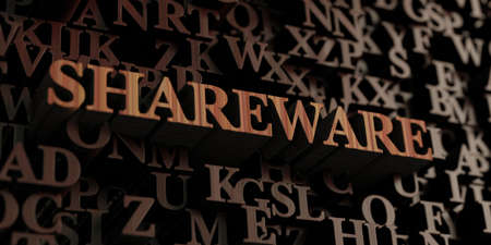 shareware: Shareware - Wooden 3D rendered lettersmessage.  Can be used for an online banner ad or a print postcard. Stock Photo