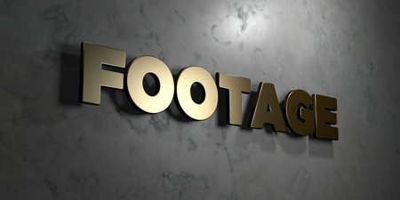 Footage - Gold sign mounted on glossy marble wall  - 3D rendered royalty free stock illustration. This image can be used for an online website banner ad or a print postcard.