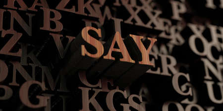 say: Say - Wooden 3D rendered lettersmessage.  Can be used for an online banner ad or a print postcard.
