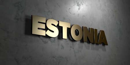 エストニア - 光沢のある大理石の壁にマウントされているゴールド サイン - 3 D レンダリングされたロイヤリティ無料ストック イラスト。この画像 写真素材