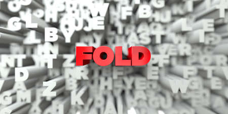 FOLD -  Red text on typography background - 3D rendered royalty free stock image. This image can be used for an online website banner ad or a print postcard. 版權商用圖片