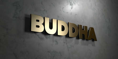 Buddha - Gold sign mounted on glossy marble wall  - 3D rendered royalty free stock illustration. This image can be used for an online website banner ad or a print postcard.