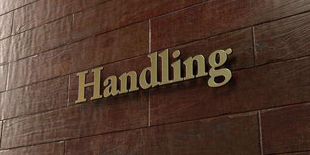 Manejo - Placa de bronce montada en la pared de madera de arce - 3D representa la imagen de stock libre de derechos. Esta imagen se puede usar para un anuncio publicitario de un sitio web en línea o una postal impresa. Foto de archivo - 72313725