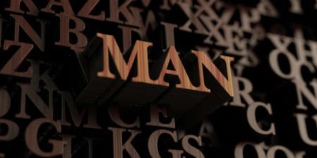 Man - Wooden 3D rendered lettersmessage.  Can be used for an online banner ad or a print postcard.