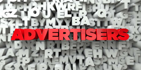 ADVERTISERS -  Red text on typography background - 3D rendered royalty free stock image. This image can be used for an online website banner ad or a print postcard.