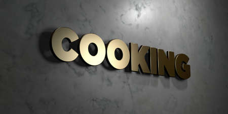 Cooking - Gold sign mounted on glossy marble wall  - 3D rendered royalty free stock illustration. This image can be used for an online website banner ad or a print postcard. Stock Photo