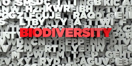 BIODIVERSITY -  Red text on typography background - 3D rendered royalty free stock image. This image can be used for an online website banner ad or a print postcard.