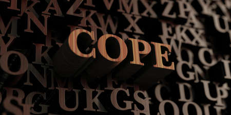 Cope - Wooden 3D rendered lettersmessage.  Can be used for an online banner ad or a print postcard. Stock Photo
