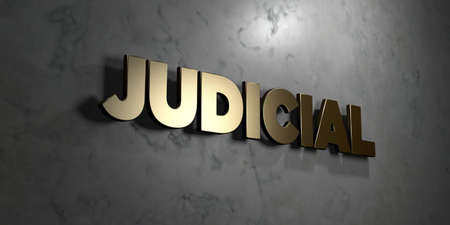 Judicial - Gold sign mounted on glossy marble wall  - 3D rendered royalty free stock illustration. This image can be used for an online website banner ad or a print postcard.
