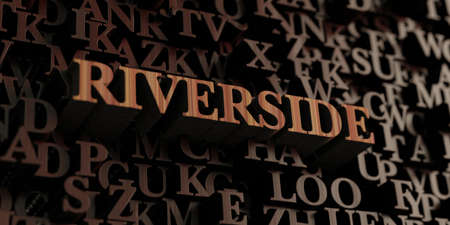 Riverside - Wooden 3D rendered lettersmessage.  Can be used for an online banner ad or a print postcard.