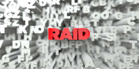 RAID -  Red text on typography background - 3D rendered royalty free stock image. This image can be used for an online website banner ad or a print postcard. Stock Photo