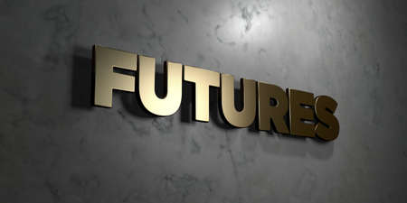 Futures - Gold sign mounted on glossy marble wall  - 3D rendered royalty free stock illustration. This image can be used for an online website banner ad or a print postcard.